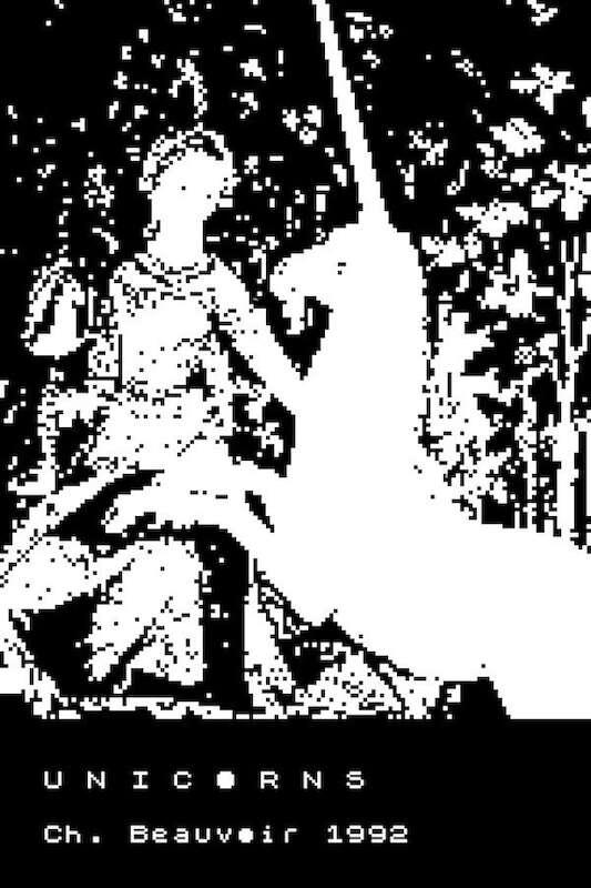 Portada original d'Unicorns, en blanc i negre