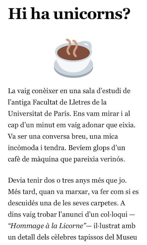 Fragment d'Unicorns il·lustrat amb l'emoji d'una tassa de cafè